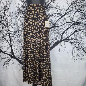 LuLaRoe Maxi Skirt Black and Tan Polkadots XL